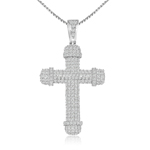 sterling silver rhodium plated cross necklace w/ pave cz accents