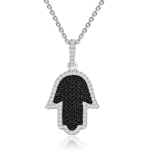 rhodium plated silver micro pave black & white cz chamsah necklace