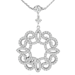 sterling silver rhodium plated decorative necklace with cz accents