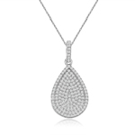 rhodium plated sterling silver pave cz pear necklace