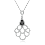 rhodium plated sterling silver black and white cz necklace