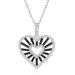 sterling silver rhodium plated black and white cz heart necklace