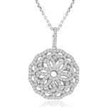 sterling silver rhodium plated ornate cz flower necklace